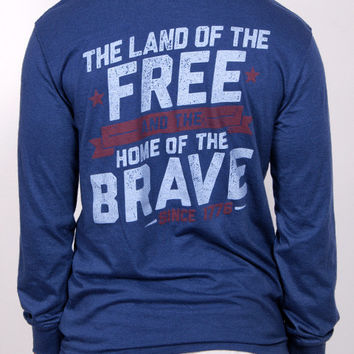 Land of the Free, Home of the Brave Long Sleeve Pocket Tee Shirt - Nav | Rowdy Gentleman