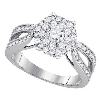14k White Gold Flower Cluster Diamond Womens Bridal Wedding Engagement Ring .98 Cttw