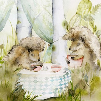 Forest Cafe- Woodland Hedgehog Archival Large print