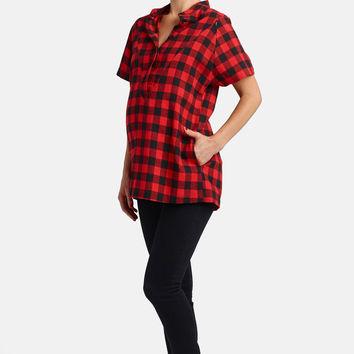 Short Sleeve Flannel Maternity/Nursing Top
