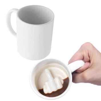 Creative Design White Middle Finger Ceramic Mug
