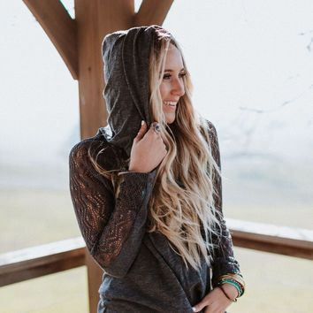 Brave Bird Lace Inset Hooded Tee - Charcoal