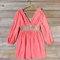 December Snow Dress in Coral