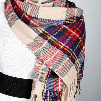 Tartan Scarf Shawl Plaid Scarf for Men or Women Super Soft Fringe Scarf Wrap Oversized Blanket Scarf Long Scarf Pashmina Wool Scarf