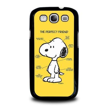 snoopy dog perfect friend samsung galaxy s3 case cover  number 1