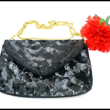 J Renee Black Sequin Evening Bag, Long Shoulder Chain, Large Black Cross Body Purse, Formal Pocketbook, Black Tie Clutch, Wedding Party Bag