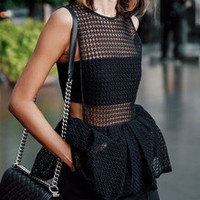 Black Sleeveless Eyelet Peplum Blouse