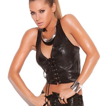 Leather Front Lace Halter Top