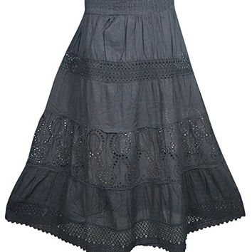 Mogul Womens Long Skirts Flare Style Crochet Lace Work A-line Bohemian Sexy Skirts