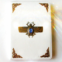 White Kindle 4 Case - Leatherette e book Case with Brass Scarab Beetle