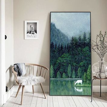 White Deer By The Forest Lake Oil Painting Entrance Wall Art Canvas Painting Poster Canvas Pictures Living Room Home Decoration