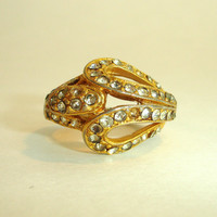 Vintage Ring: Gold Tone and Rhinestone Paste Crystal Estate Cocktail Ring, Costume Jewelry, 1960's Adjustable Ring