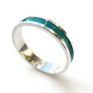 Vintage David Andersen enamel and sterling silver ring, Norwegian silver, modernist ring, teal / turquoise colour, 925 silver, 1970s, #216.
