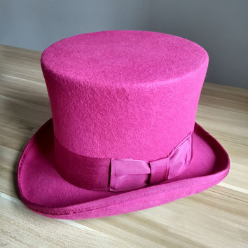 18cm High Rose Red Top Hats for Women 100% High Quality Australian Wool Felt Victorian Vintage Fedora Hat