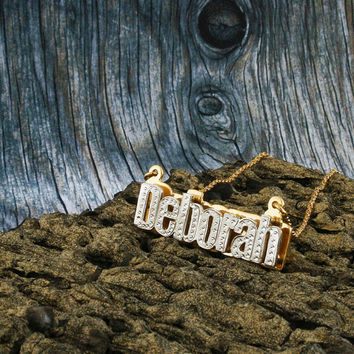 Nameplate Necklace, White & Yellow Gold Plated, Silver, Personalized Name in English Letters, Block, Double Plated, NN002A