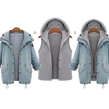 High Quality Winter Coat Thickened Parka Women Warm Collar Hooded Coat Jacket Denim Trench Parka