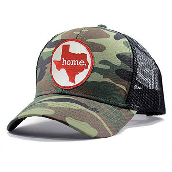 Homeland Tees Men's Texas Home State Army Camo Trucker Hat - Red
