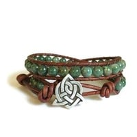 Leather Wrap Bracelet African Jade Gemstones Celtic Sister Knot Green Beaded Jewelry