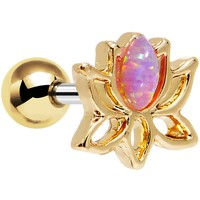 "1/4"" Pink Faux Opal Gold Plated Lotus Tragus Cartilage Earring"