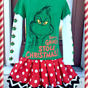 girls Grinch Dress dr seuss  dress 4/5 6/6X 7/8 and 10/12 ready to ship