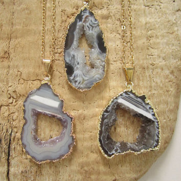 "Agate Geode Slice Necklace Druzy Drusy Quartz 14K Gold Fill 30"" Long"