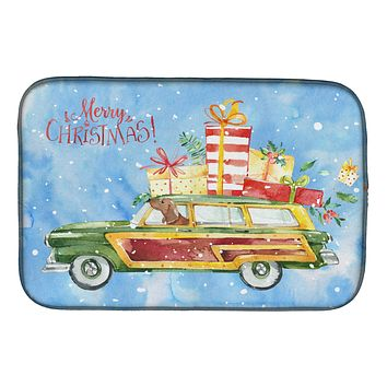 Merry Christmas Red Dachshund Dish Drying Mat CK2465DDM