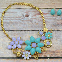 Blossom Burst Blue Stone Flower Necklace
