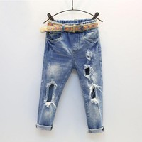 Autumn Kids Fashion Denim Pants Kids Girls Hole Jeans Trousers Children Boys Ripped Jeans Baby Casual Jean Baby Boys Clothing