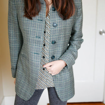 Vintage 1990s Wool Gray Green / Black Plaid Coat Jacket size S/M