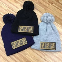 FENDI Newest Trending Men Women Stylish Warmer Embroidery F Letter Knit Hat Cap