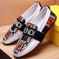 FENDI New fashion more letter men shoes single shoes White