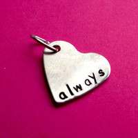Custom Hand Stamped Aluminum Heart Charm by LaurenElaineDesigns