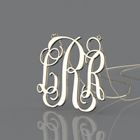Valentines gift monogram necklace --1 inch gold plated initial monogram necklace jewelry customized