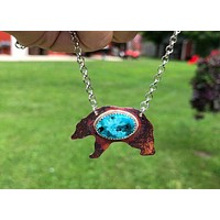 Bear Copper Turquoise Silver Pendant Necklace