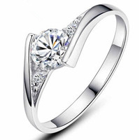 Super shiny diamond silver plated ladies`finger wedding rings
