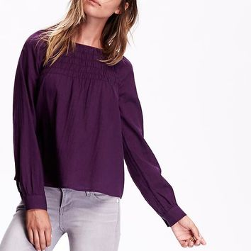 Old Navy Womens Long Sleeve Trapeze Blouse