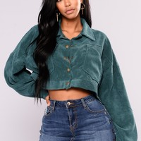 Analia Cropped Jacket - Dark Green