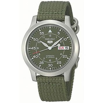 Seiko 5 Automatic Mens Strap Watch - Military Green Dial - Stainless Steel Case