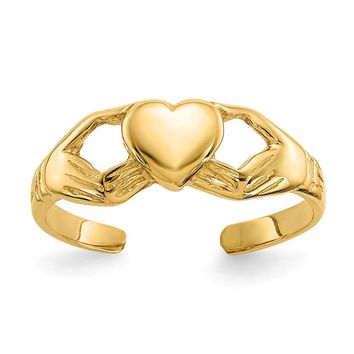 14K Yellow Gold Polished Claddagh Toe Ring