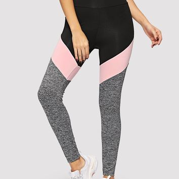 Wide Waistband Marled Knit Colorblock Leggings