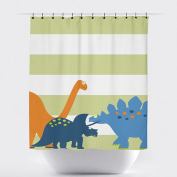 Green/White Stripe Dinosaur Shower Curtain