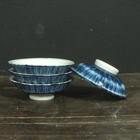 Vintage Indigo Blue Japanese Rice Bowls // Set of 4