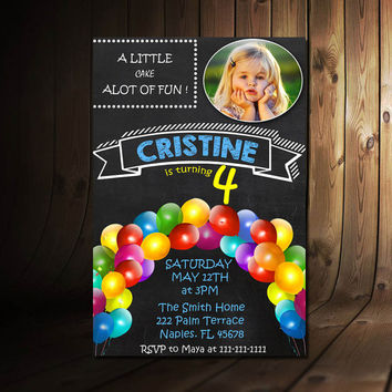 "0010 PRINTABLE Chalkboard Four Birthday Invitation with Picture - 4th Birthday Invitation - Girls Boys Birthday Party 4""x6"" Design"