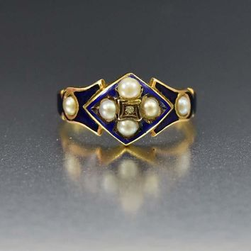 Blue Enamel Pearl and Diamond Antique 18K Gold Ring