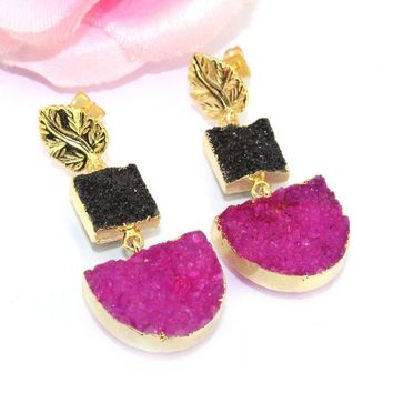 Royal Black & Purple Natural Agate Druzy 24k Gold Electroplated Earring Jewelry