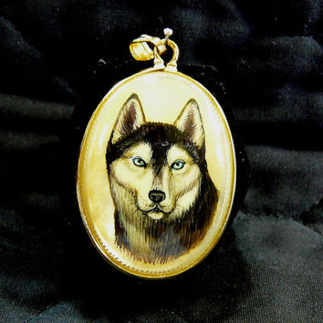 "Hand Painted Siberian Husky Dog Cameo Pendant 14k Gold Fill Set Mother Of Pearl 18"" GP Necklace Original Art Jewelry Unisex Dog Lovers Gift"