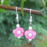 Pink Flower Earrings - Handmade Jewelry by Steampnk Beadery