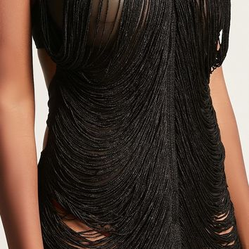 Kikiriki Sheer Fringe Dress