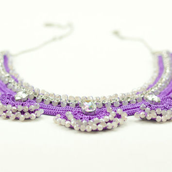 Bohemian Chic Jewelry/ Purple Statement Necklace/ Crochet Lace/ Swarovski Elements/ Rhinestone Statement Necklace/ Fiber Art Jewelry