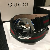 Gucci Signature Web men's leather belt 34""